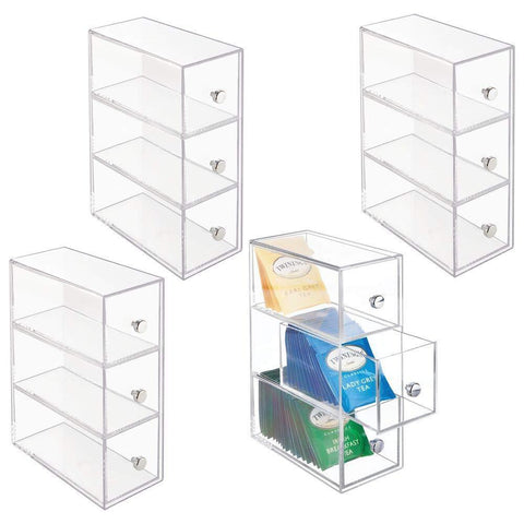 mDesign Plastic Kitchen Pantry, Cabinet, Countertop Organizer Storage Station with 3 Drawers for Coffee, Tea, Sugar Packets, Sweeteners, Creamers, Drink Pods, Packets - 4 Pack - Clear