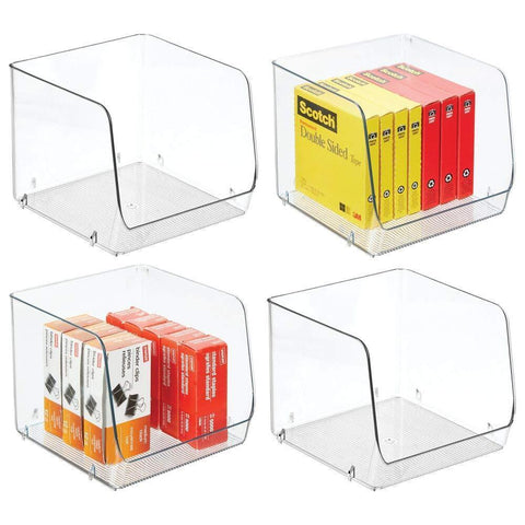 "mDesign Large Stackable Plastic Home, Office Storage Organization Bin Basket with Wide Open Front - for Cabinets, Closets, Drawers, Desks, Tables, Workspace - Cube - 7.75"" Wide - 4 Pack - Clear"