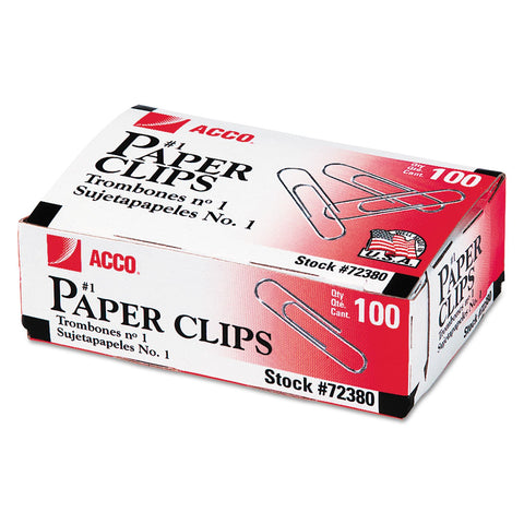 ACCO Paper Clips, Small (No. 1), Silver, 1,000/Pack