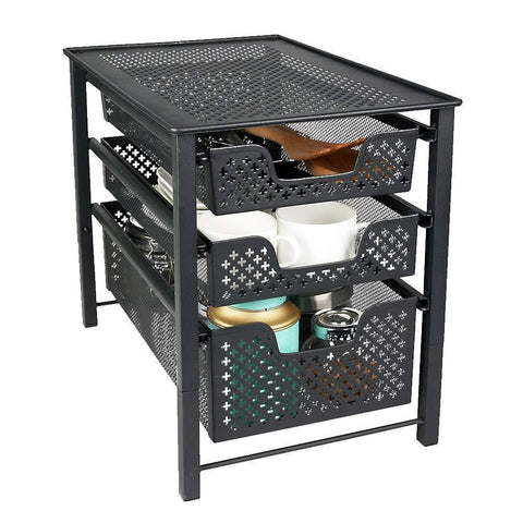 Stackable 3 Tier Organizer Baskets with Mesh Sliding Drawers, Ideal Cabinet, Countertop, Pantry, Under the Sink, and Desktop Organizer for Bathroom,Kitchen, Office.