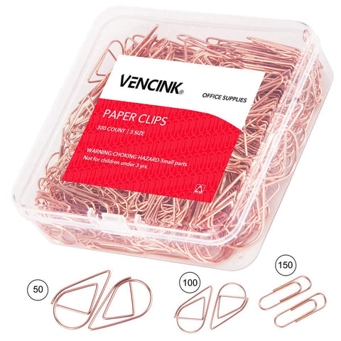 300 Premium Cute Paper Clips Rose Gold Assorted Sizes,Smooth Stainless Steel Wire Paper Clips for Office School Students Girls Kids Paper Document Organizing Wedding with Storage Box by VENCINK