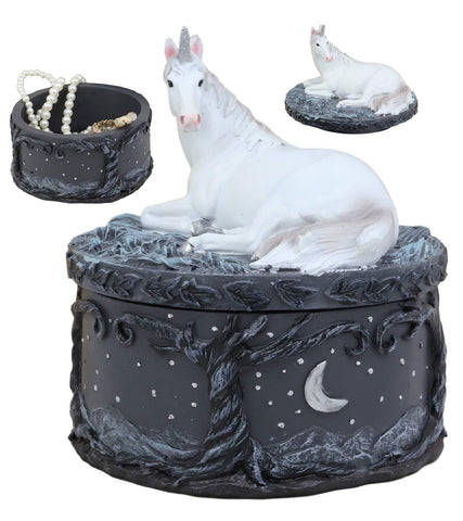 "Ebros Gift Mystical White Unicorn Sitting On Celestial Heavens Starry Night Scenery Round Jewelry Box Statue Decor Figurine 5.25"" H Unicorns Enchanted Magical Encounter Collectible Decorative Trinket"