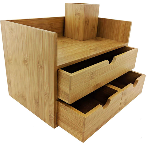 Sherwood & Co. 3-Tier Bamboo Desk Organizer with Drawers - Perfect for Desk Office Supplies, Vanity, Kitchen and Home or Office Tabletop with Bonus Pen Pencil Holder