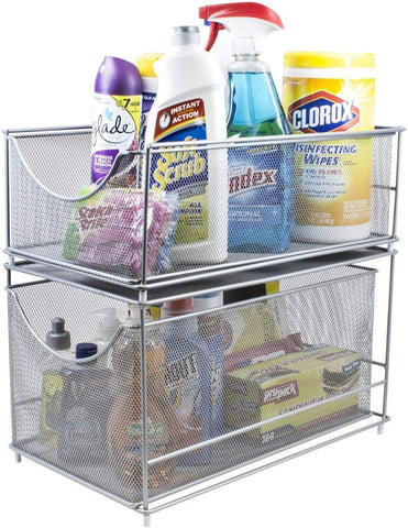 Sorbus Cabinet Organizer Set -Mesh Storage Organizer with Pull Out Drawers-Ideal for Countertop, Cabinet, Pantry, Under the Sink, Desktop and More (Silver Two-Piece Set)