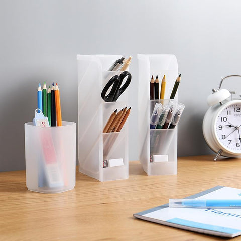 Pen Organizer Storage for Office, School, Home Supplies, Translucent White Pen Storage Holder