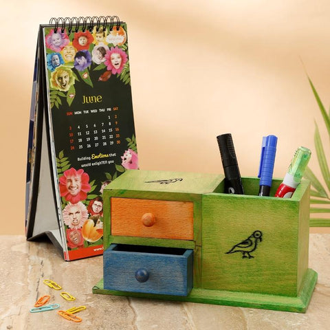 Muticoloured Wooden Decorative Study Table Organizer with Pen Stand