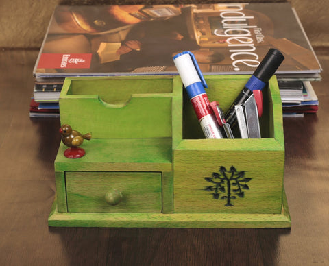 Wooden Multipurpose Table Organiser With Tree Carving & Parrot