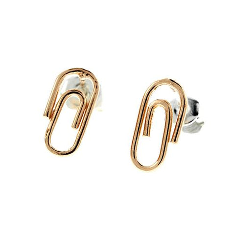 Rose Gold Paper Clip Earrings