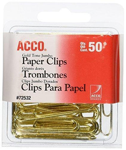 Acco Gold Tone Jumbo Paper Clips, 20 Sheet Capacity, 50 Clips / Box