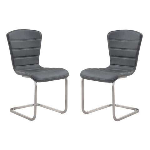 Armen Living  Cameo Modern Side Chair In Gray and Stainless Steel - Set of 2