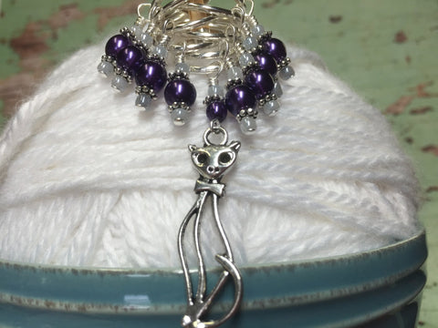 Purple Cat Stitch Marker Set