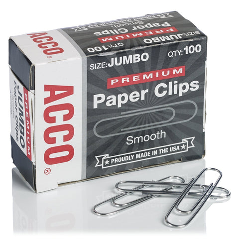 Acco A7072500G Jumbo Paper Clips, Silver