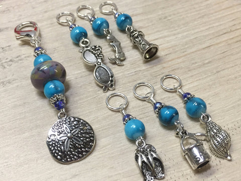 Beach Themed Stitch Marker Set and Matching Clip Holder
