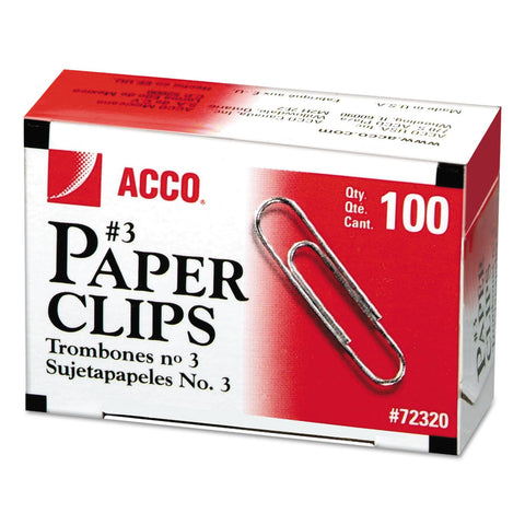 ACCO Paper Clips, Medium (No. 3), Silver, 1,000/Pack