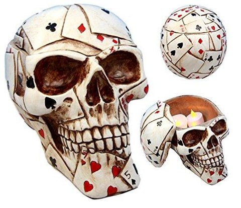 "Ebros Gift Ace Cards Royal Flush Poker Game Skull Utility Keepsake Jewelry Box Figurine 6.5"" L Casino Gambling Skeleton Cranium Spooky Halloween Macabre Statue"