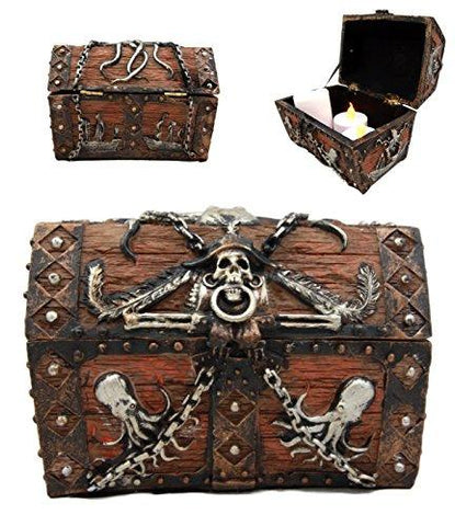 "Ebros Gift Caribbean Kraken Octopus Pirate Haunted Chained Skull Treasure Chest Box Jewelry Box Figurine 5"" L Nautical Coastal Ocean Decor"