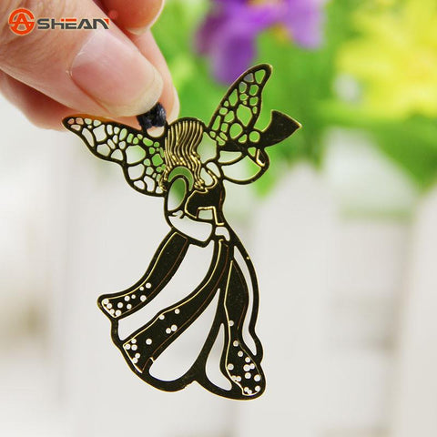 1pcs Metal Bookmark Vintage Key Feather Angel Musical Instruments Bookmark Paper Clip for Book Mark Notes 10 Types Available