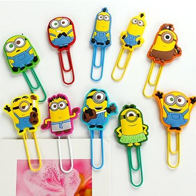 10 pcs/lot Cartoon Minion Metal bookmarks for books Cute paper clips paper holder kids gift office school supplies