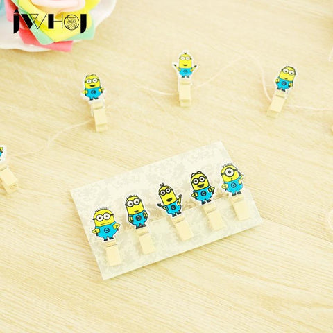 10 pcs/lot  Mini Cartoon Minions Wooden Clip kawaii DIY Photo Paper Clips with Hemp Rope Photo Hanging message memo clips