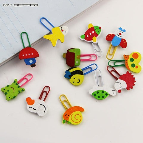 12pcs/1 Set Cute Cartoon Animal Pattern Wooden Paper Note Clips Bookmark Paperclip Learning Office Supplies