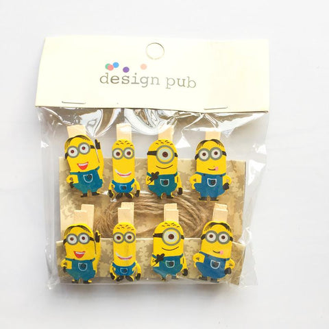 10 pcs /Pack Kawaii Minions Wooden Paper Clip Decorative Bookmark For Album With Rope Message Stickers Stationery