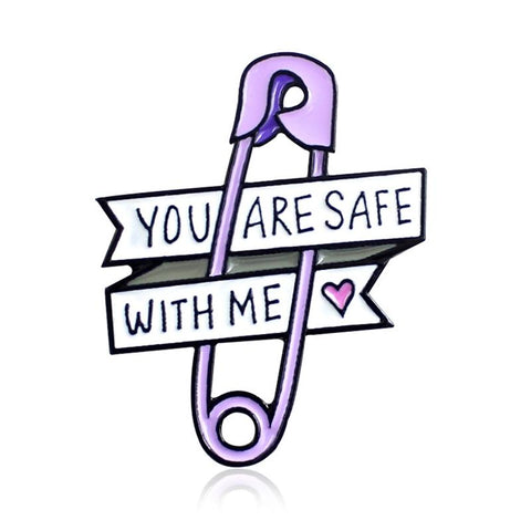 Pin Love Ribbon Brooch Purple Paper Clip Heart You Are Safe With Me Enamel Pin Jeans Backpack Badge Friends Kids Family Gifts