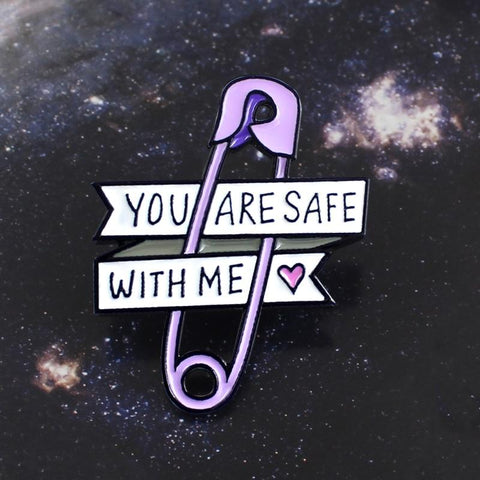 Jisensp Pin Love Ribbon Brooch Purple Paper Clip Heart You Are Safe With Me Enamel Pin Jeans Backpack Badge Friends Family Gifts