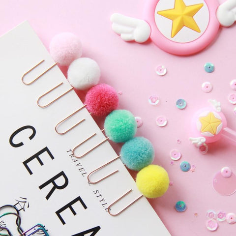 12 PC Pompon Paper Clip Set