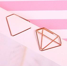 1PCS Cartoon Rose Gold Paper Clip Metal Bookmark Memo Clips Kawaii Stationery School Office Supplies