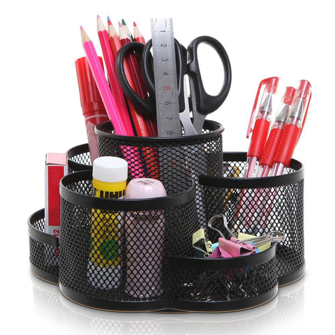 7 Compartment Rotating Black Metal Mesh Desktop Office Supplies Storage Caddy