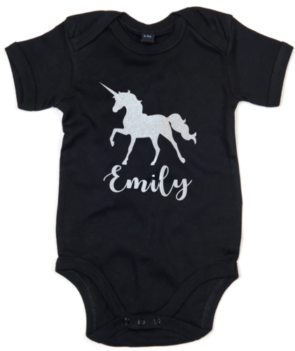 Personalised Unicorn Babygrow Custom Name Gift Baby Newborn Girl GLITTER  L284