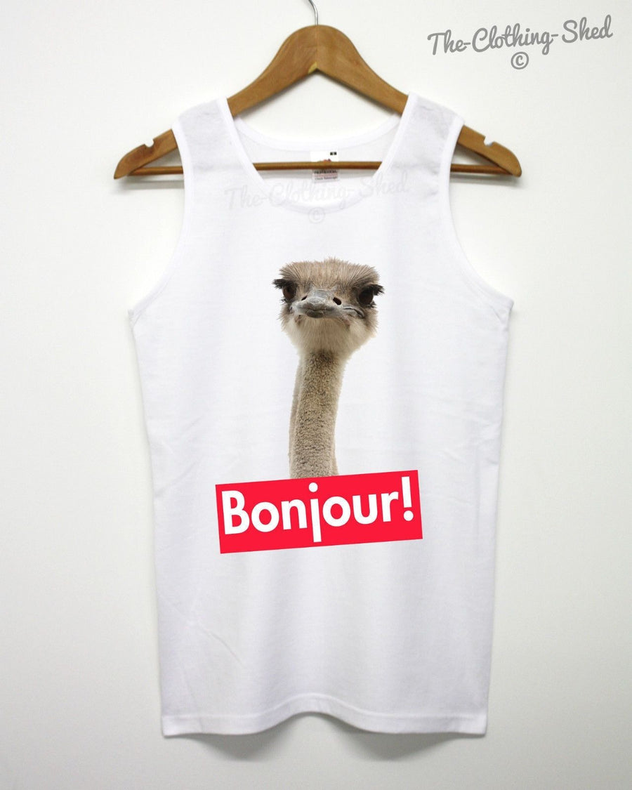 Ostrich Bonjour Vest Funny Animal Hipster Tank To Festival Summer Holiday Men UK