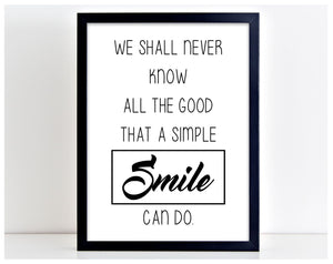 A Simple Smile Family Love Home Picture Word Poster Print Typography Gift PP15