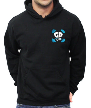 Get Down Skull And Cross Weights Pocket Logo Hoodie Gym Motivation Bodybuilding