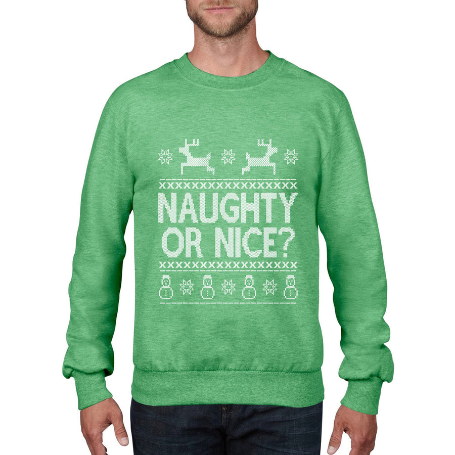 Naughty or Nice Christmas Jumper Rude Sexy Santa Gift Fancy dress Sweater CH16