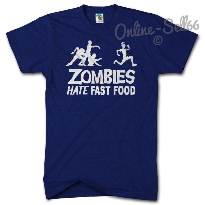 Zombies Hate Fast Food Funny Mens tshirt Womens Invasion Apocalypse Film, Main Colour Navy
