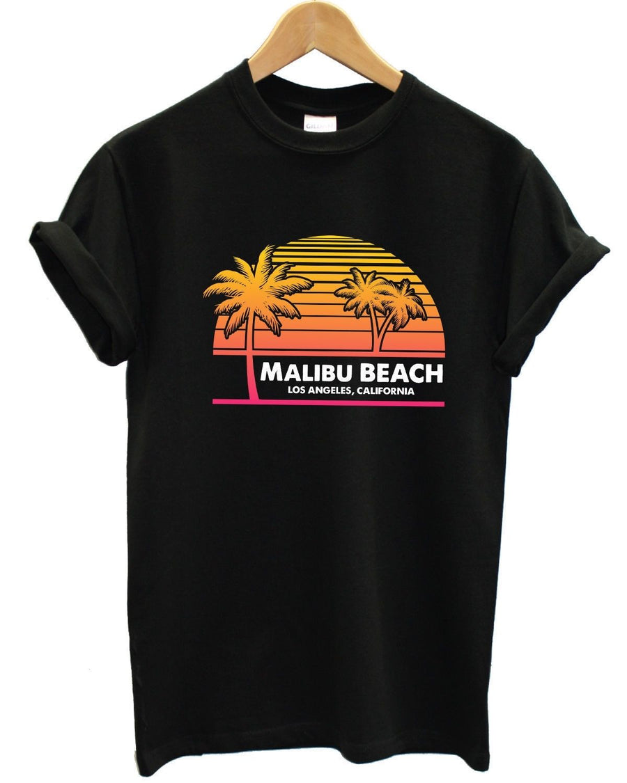 Malibu Beach, Los Angeles, California T Shirt Surf Palm Tree Retro 90s Men Women