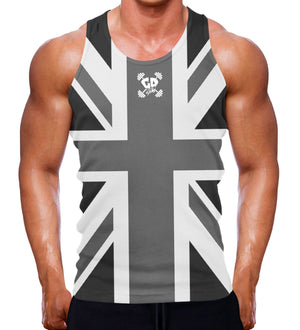 BLACK AND WHITE UNION JACK TANK MUSCLE VEST FITNESS APPAREL WEAR GREAT BRITAIN