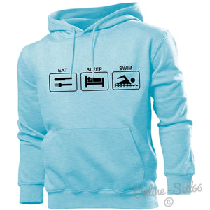 Eat Sleep Swim Hoodie Hoody Men Women Kids Swimming Swimmer Pool Gift, Main Colour Sky Blue