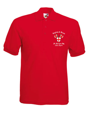 St Georges Day Embroidered Polo Shirt Men English & Proud Flag Red Cross L268