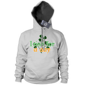 Irish for a Day St Patricks Day Irish Hoodie Ireland Rugby Hoody Gift Drunk P16