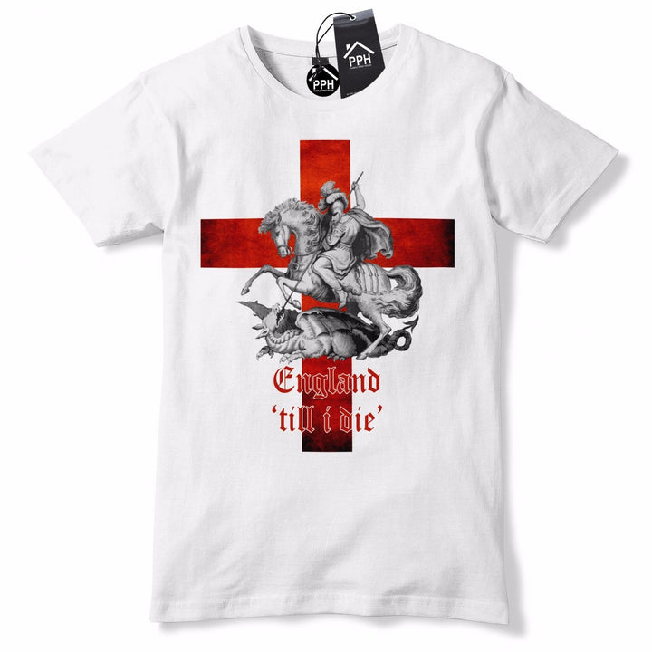 England Till i Die T Shirt St George's Day Tshirt Dragon Slayer English Top GD3