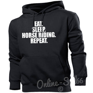 Eat Sleep Horse Riding Repeat Mens Hoodie Present Equestrian Hoody Show Jumping, Main Colour Black