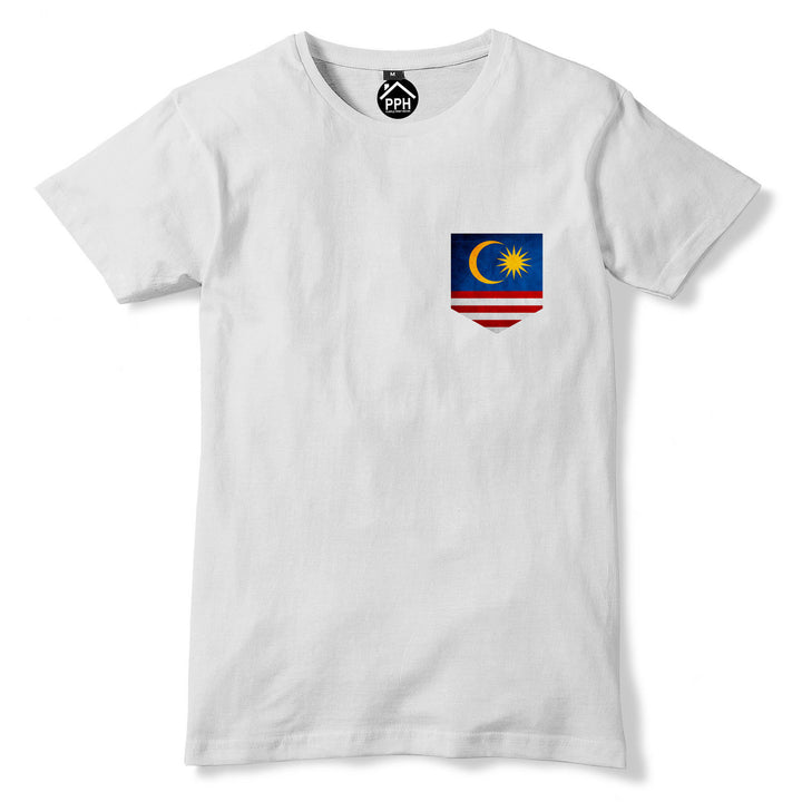 Vintage Print Pocket Malaysia Flag Tshirt Mens Sport Train Football T Shirt 293