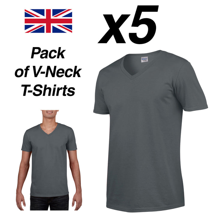 Mens CHARCOAL V-NECK T SHIRT 5 Pack Gildan Cotton Man Top New Plain Cheap Summer