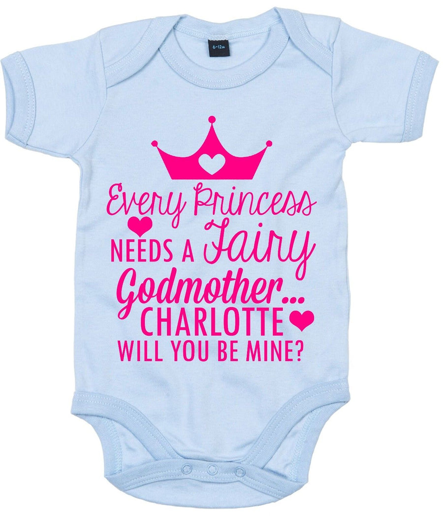 Every Princess Needs Fairy Godmother Be Mine CUSTOM NAME Babygrow Ask To Be AS36
