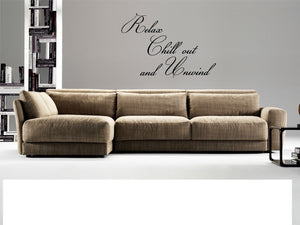 Relax Chill Out and Unwind Vinyl Wall Sticker Art Decals Decor Quote Decoration