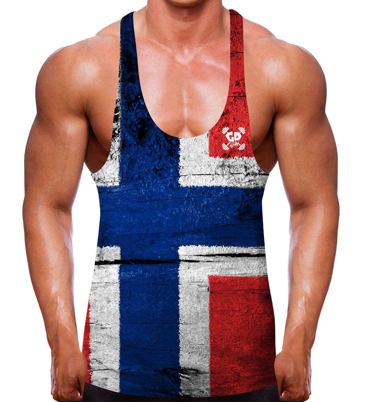 NORWAY FLAG BODYBUILDING STRINGER VEST COUNTRY MEN FITTED SINGLET GYM LIFT WEIGH