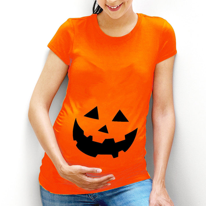 Funny Pumpkin Face Maternity T-Shirt Top Costume Idea Womens Halloween L100