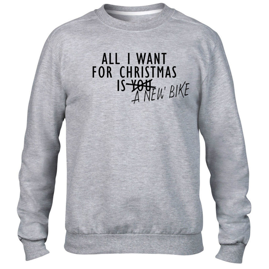 All I Want For Christmas Is A New Bike JUMPER SWEATER Motorbike Present Gift